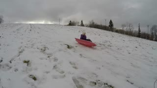 Brother And Sister Tobogganing In The Winter