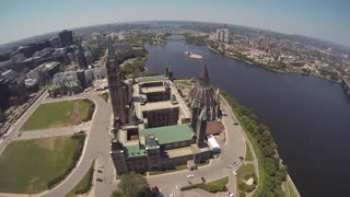Canadian Parliament Hill Ottawa Aerial With View of Hull/Gatineau