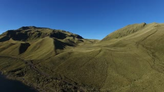 Ecuador Hills and Mountains Pan from Land to Water