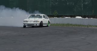 Extreme Slow Motion car drifting on a track