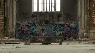 Extreme Sport BMX Rider Doing Tricks in Abandoned Church