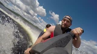 Having fun on the water - jet ski action on summer vacation
