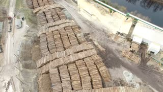 Logging Industry - Aerial of log pile
