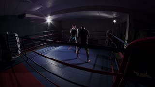 Mixed Martial Arts - Muscular Fighters Squaring off in Boxing Ring