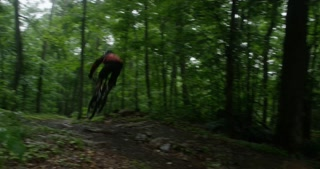 Mountain bike rider racing down forest path - wide angle