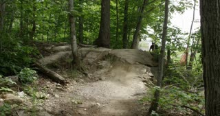 Mountain Biking in the Forest - Extreme Sport Action