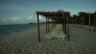 Pan across beautiful cuban beach