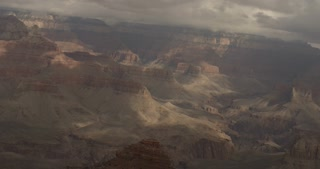 Pan across Grand Canyon on Foggy Morning