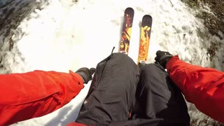 Point of view ski back flip on jump - extreme sports