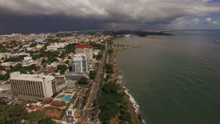 Santo Domingo Panning Aerial Of City Skyline From The Ocean