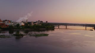 Scenic view of the Ottawa River and Gatineau Quebec at sunrise