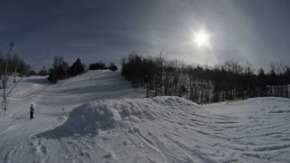 Snow park Skiing - Winter Slow Motion Extreme Sports