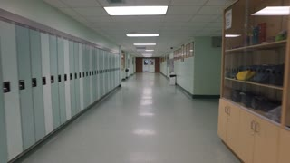 Steadicam Shot walking through high School Hallway