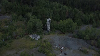 Aerial towards head frame at abandoned mine