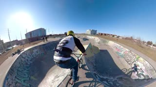 Awesome Bmx Riding In Skateboard Park