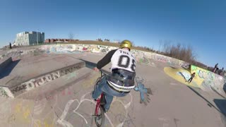 Bmx Extreme Sports Rider In Skateboard Concrete Park