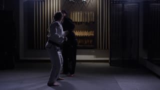 Dojo training women fighting martial arts