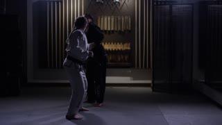 Dojo training women fighting martial arts