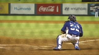 Dominican Baseball Catcher On The Field