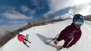 Extreme ski sport athlete sliding rail