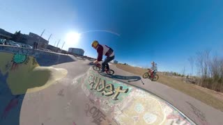 Extreme Sports Follow Camera Graffiti On Skatepark Riding