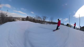 Extreme sports tricks being done on a ski hill by young athlete