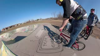Extreme Sports Wheelie Around Skatepark Bowl