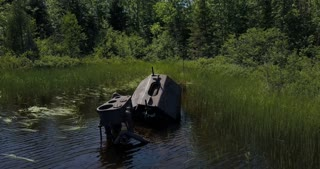 Fresh water ship wreck in shallow water