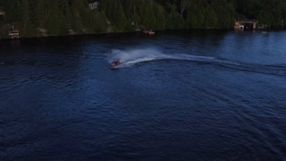 Jet ski racing on a lake on summer vacation fun weekend