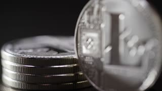 Litecoin Rack Focus To Coin In Foreground Crypto