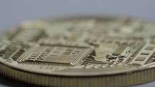 Macro rack focus across a bitcoin