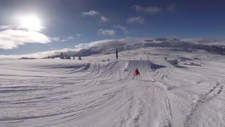 Male rider Ski backflip 180 on big jump