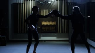 Martial arts sparring fall and trip blooper