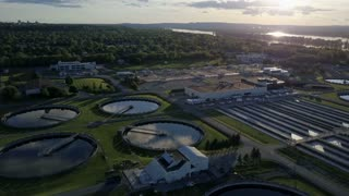 Rotating aerial of a sewage waste treatment plant