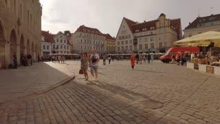 Tallinn Estonia Town Square At Dusk