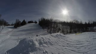 Winter Slow Motion Extreme Sports - Ski Silhouette on Big Jump
