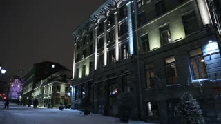 Winter time view of old Montreal - snow storm in the evening