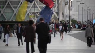 Crowd of people in Paris, La Defence. Timelapse