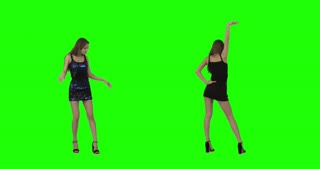 Dancing on Green Screen, slim girl in a short dress dances energetically on green screen, 2 shots combined, shot on RED