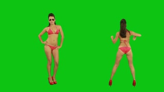 Go-Go Dancers. Green screen