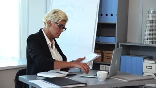Heavy Weekdays of the Construction Company Accountant/Businesswoman's workplace. She examines the documents on her desk. She took from a shelf a folder with the last report, and compares its data with the data in her laptop