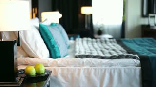 Hotel's Room is Ready to Receive a Guest/We can see a panorama of empty hotel room. He is ready to receive a new guest