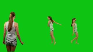 Summer girl in sunglasses dancing barefoot
