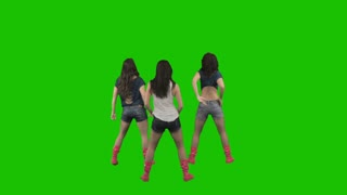Three women dance against green screen