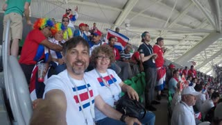 Samara, Russia - 06.17.2018: Costa-Rica Football Fans (FIFA World Cup 2018) Match Costa-Rica VS Serbia. Middle aged football fans