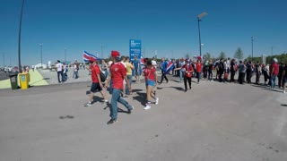 Samara, Russia - 06.17.2018: Costa-Rica Football Fans (FIFA World Cup 2018) Match Costa-Rica VS Serbia