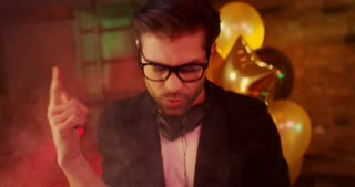 Timelapse of a Party DJ. Timelapse of a party dj performing, taking selfie, playing music