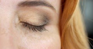 Woman's Brown Eyes/Slow motion shot of the left eye of a woman with foxy hair