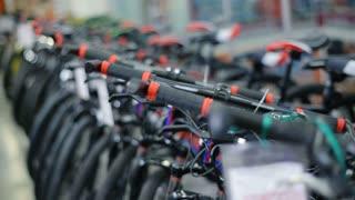 Bikes in sports shop