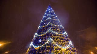 Bright Christmass tree with garland at city